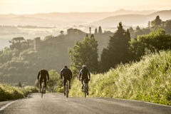 Cycling in Sunset time at tuscany. Italy Stock Photo