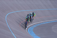 Cycling team comes to turn on the track. Cyclist in training. Group Check Royalty Free Stock Photography
