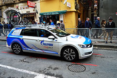 Cycling Team Gazprom Car And Bikes Stock Photos