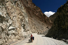 Cycling in Tibet Royalty Free Stock Photography