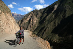 Cycling through Tibet Royalty Free Stock Photo