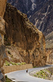 Cycling in Tibet. In sichuan-tibet road cycling between the mountains Stock Photos