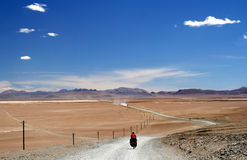 Cycling on tibetan plateau Royalty Free Stock Image