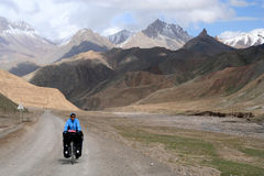Cycling on tibetan plateau Stock Image