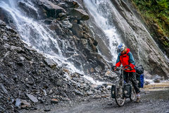 Cycling through the Tiger Leaping gorge Stock Image