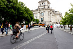 Cycling to the Reichstag Royalty Free Stock Photography