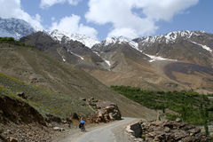 Cycling to Shandur Pass Stock Image