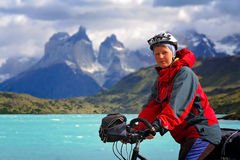 Cycling in Torres del Paine NP stock images