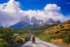 Cycling in Torres del Paine NP Royalty Free Stock Photography