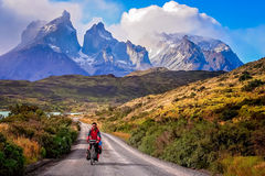 Cycling in Torres del Paine NP Stock Image