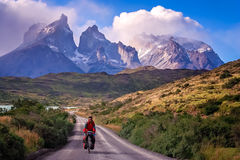 Cycling in Torres del Paine NP Royalty Free Stock Photos