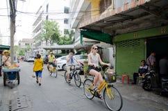 Cycling tour at Bangkok, Thailand. Royalty Free Stock Images