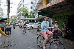 Cycling tour at Bangkok, Thailand. Stock Photos