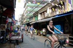 Cycling tour at Bangkok, Thailand. Royalty Free Stock Image