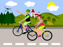 Cycling tour. Married couple on a bike trip vector illustration