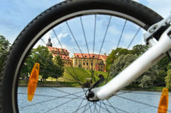 Cycling tour, Medieval castle in Nesvizh Stock Image