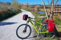 Cycling tourism bike in ribarroja Parc de Turia Royalty Free Stock Images