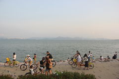Cycling tourists on the beach in SHENZHEN CHINA ASIA Stock Photography