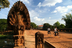 Cycling towards Angkor Stock Photos