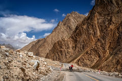 Cycling towards Tibet Stock Photography