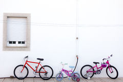 Cycling toys for Kids. Group of kids bicycles ready to ride Royalty Free Stock Image