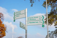 Cycling track signpost Royalty Free Stock Photo