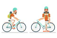 Cycling Travel Geek Hipster Lifestyle Ride Bicycle Concept Planning Summer Vacation Tourism Journey Symbol Man Bike Flat. Cycling Travel Geek Hipster Lifestyle stock illustration