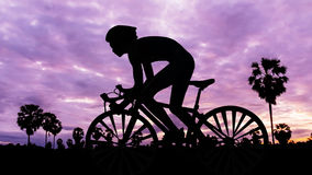 Cycling triathlon on twilight time Royalty Free Stock Images