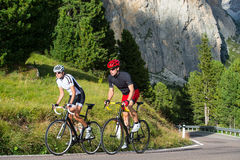 Cycling trip on weekend. A couple takes a bike ride in the mountains Stock Images