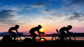 Cycling on twilight time Stock Image
