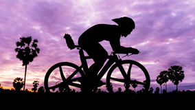 Cycling on twilight time Stock Photography