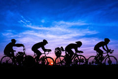 Cycling on twilight time Royalty Free Stock Photo