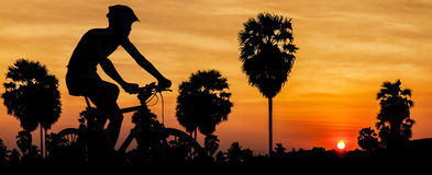 Cycling on twilight time Royalty Free Stock Images