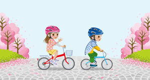 Cycling Two kids with Helmet- Cherry trees - EPS10 Royalty Free Stock Photos