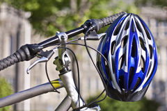 Cycling using safety equipment Stock Images