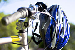 Cycling using safety equipment Royalty Free Stock Photography