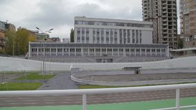 The cycling velo track. In city sports ground arena building architecture stock footage