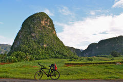 Cycling in Vinales Valley, Cuba Stock Photos