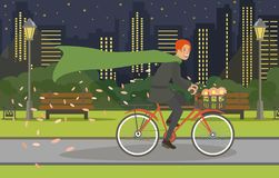 Cycling Walk Young Man in Suit and in Raincoat. royalty free illustration