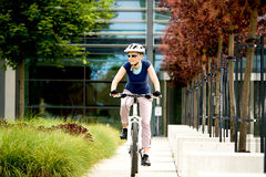 Cycling woman Stock Image