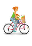 Cycling woman with baby and grocery bag. Woman cycling with baby and grocery bag, isolated vector vector illustration