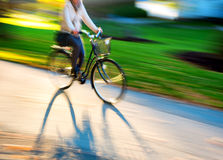 Cycling woman in beautiful landscape Stock Photos