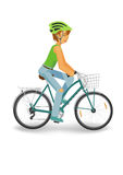 Cycling woman in helmet. Woman in helmet driving a bike. Blue bicycle with basket. Flat illustration isolated on white background vector illustration