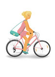 Cycling woman in pink. Bright blonde girl in pink driving a bike, isolated vector vector illustration