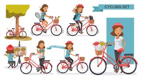 Cycling Woman. Set. female wearing hat leisure summer. city bike Relax in the park, Painting, exercise, Go to work, go to the market, flower in a bicycle basket vector illustration