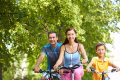 Cycling in wood Royalty Free Stock Images
