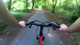 Cycling in the woods on a dirt road stock footage