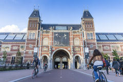 Cycling path underneath the famous Rijksmuseum Amsterdam Stock Images