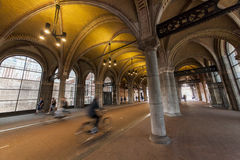 Cycling path underneath the famous Rijksmuseum Amsterdam. A cycling path is made underneath the world famous Rijksmuseum in Amsterdam royalty free stock photos