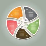 Cyclisch diagram met vijf stappen en pictogrammen Royalty-vrije Stock Foto's